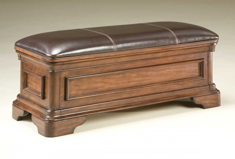 Heritage Court Leather Storage Bench - Legacy Classic