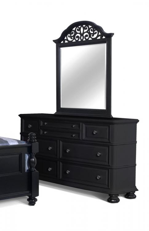 North Hampton Dresser with Scroll Top Mirror