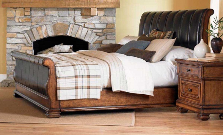 Larkspur Leather Sleigh Bed