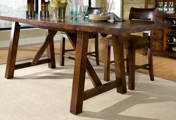 Woodland Ridge Rectangular Trestle Pub Table - Legacy Classic