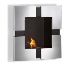 Elm Wall Mounted Ethanol Fireplace - Stainless Steel - Moda Flame