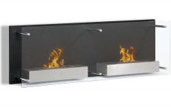 Faro Wall Mounted Ethanol Fireplace - Black - Moda Flame