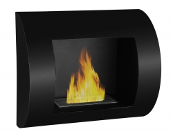 Leon Wall Mounted Ethanol Fireplace - Black - Moda Flame