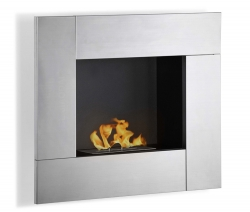Reus Wall Mounted Ethanol Fireplace - Stainless Steel - Moda Flame