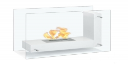 Arta Contemporary Indoor Outdoor L Shaped Ethanol Fireplace - White - Moda Flame