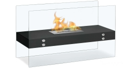 Avila Contemporary Indoor Outdoor Ethanol Fireplace - Black - Moda Flame