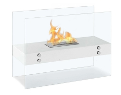 Avila Contemporary Indoor Outdoor Ethanol Fireplace - White - Moda Flame