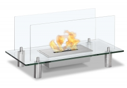 Baza Free Standing Floor Indoor Outdoor Ethanol Fireplace - Clear - Moda Flame