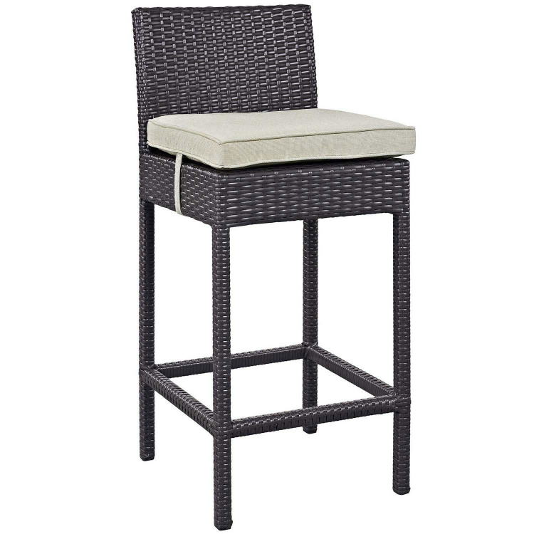Convene Outdoor Patio Fabric Bar Stool - Espresso Beige