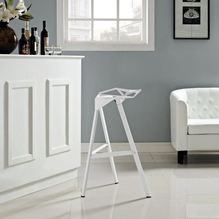 Launch Stacking Bar Stool - White