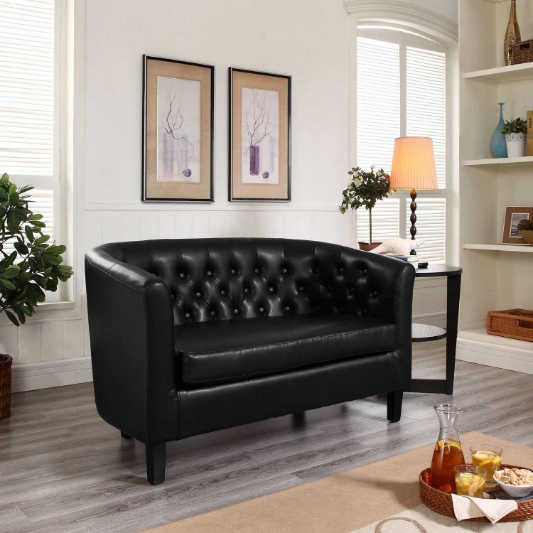 Prospect Vinyl Loveseat - Black