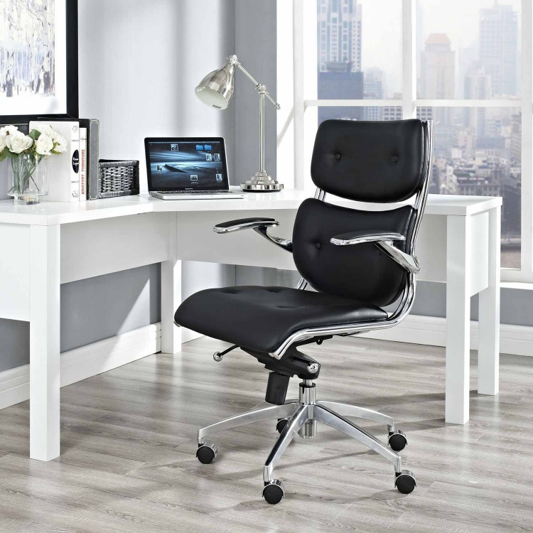 Push Mid Back Office Chair - Black