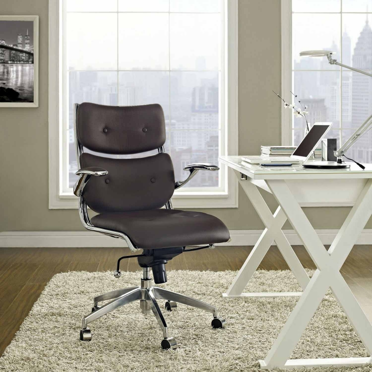 Push Mid Back Office Chair - Brown