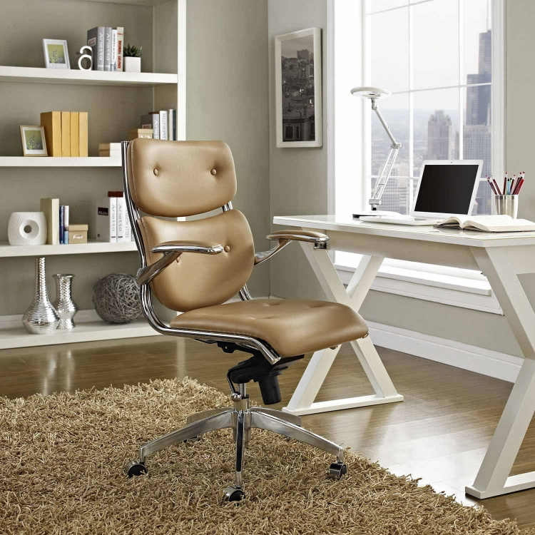 Push Mid Back Office Chair - Tan