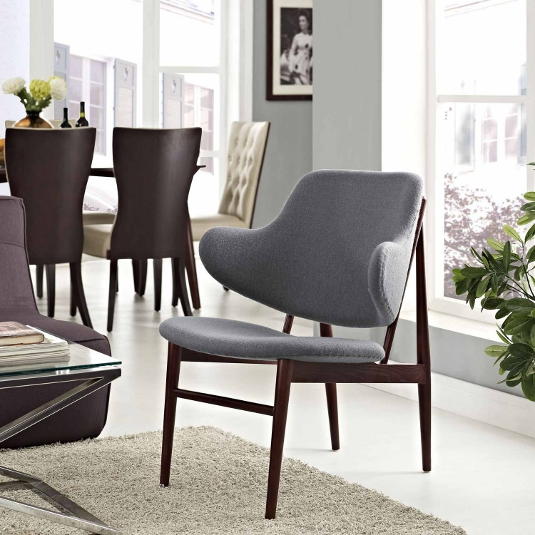 Cherish Wood Lounge Chair - Dark Gray