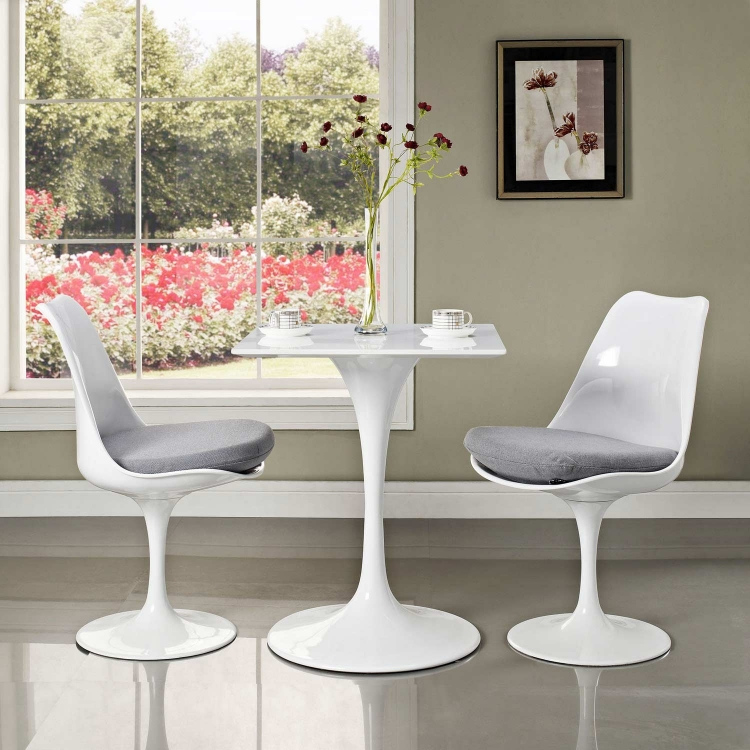 Lippa 24 Wood Top Dining Table - White
