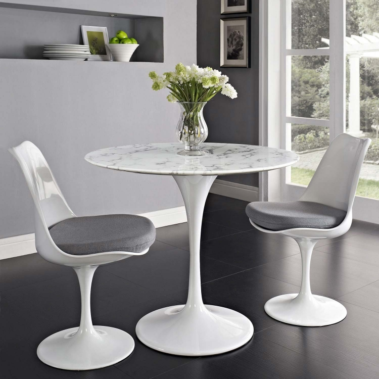 Lippa 36 Artificial Marble Dining Table - White