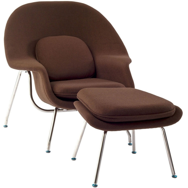 W Fabric Lounge Chair - Brown