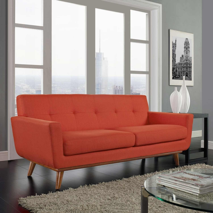 Engage Upholstered Loveseat - Atomic Red