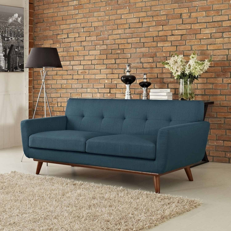 Engage Upholstered Loveseat - Azure