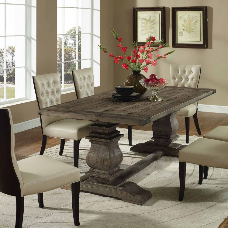 Column Wood Dining Table - Brown
