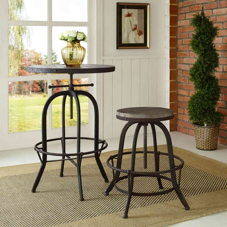 Collect Wood Top Bar Stool - Brown