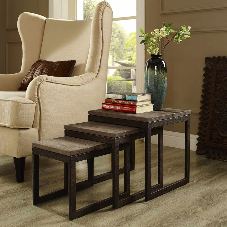 Covert Wood Top Nesting Table - Brown