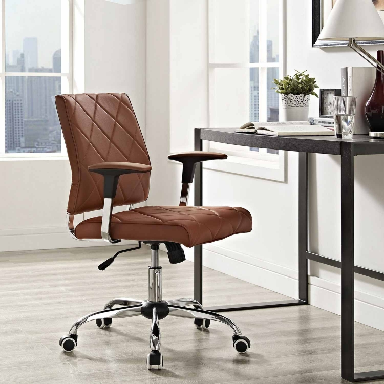 Lattice Vinyl Office Chair - Tan