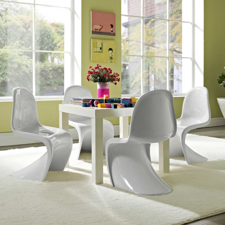 Slither Kids Chair Set of 4 - White