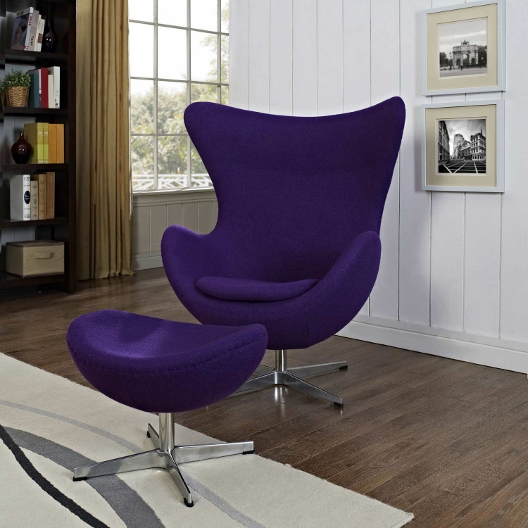 Glove Wool Lounge Chair and Ottoman Set - Purple