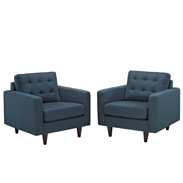 Empress Armchair Upholstered Set of 2 - Azure