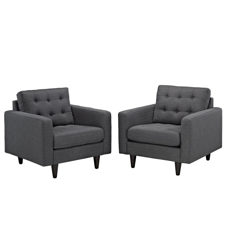 Empress Armchair Upholstered Set of 2 - Gray