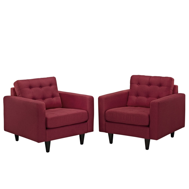 Empress Armchair Upholstered Set of 2 - Red