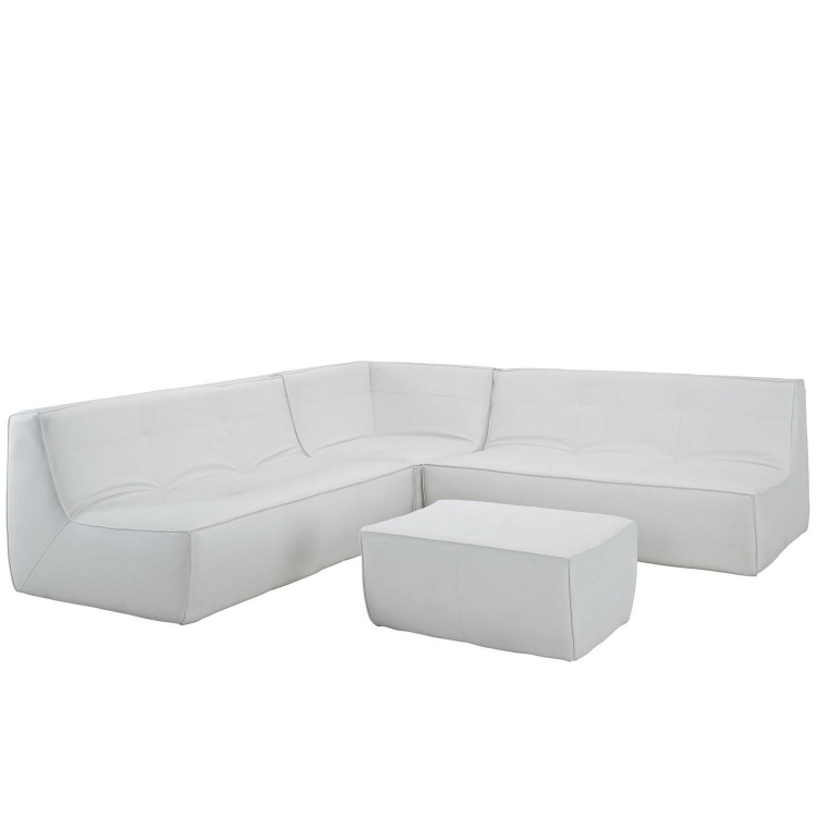 Align 4 Piece Bonded Leather Sectional Sofa Set - White