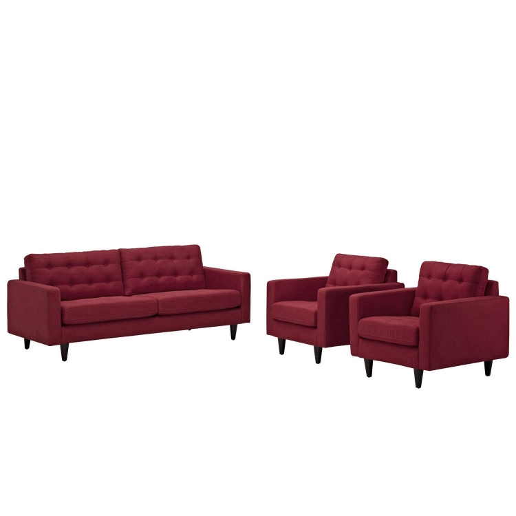 Empress 3PC Sofa and Armchairs Set - Red