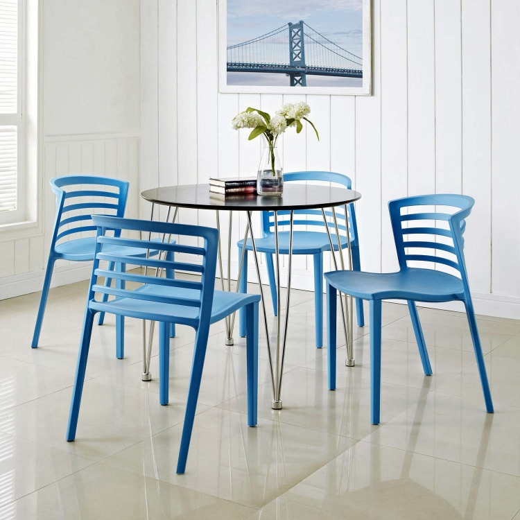 Curvy 4PC Dining Chairs Set - Blue