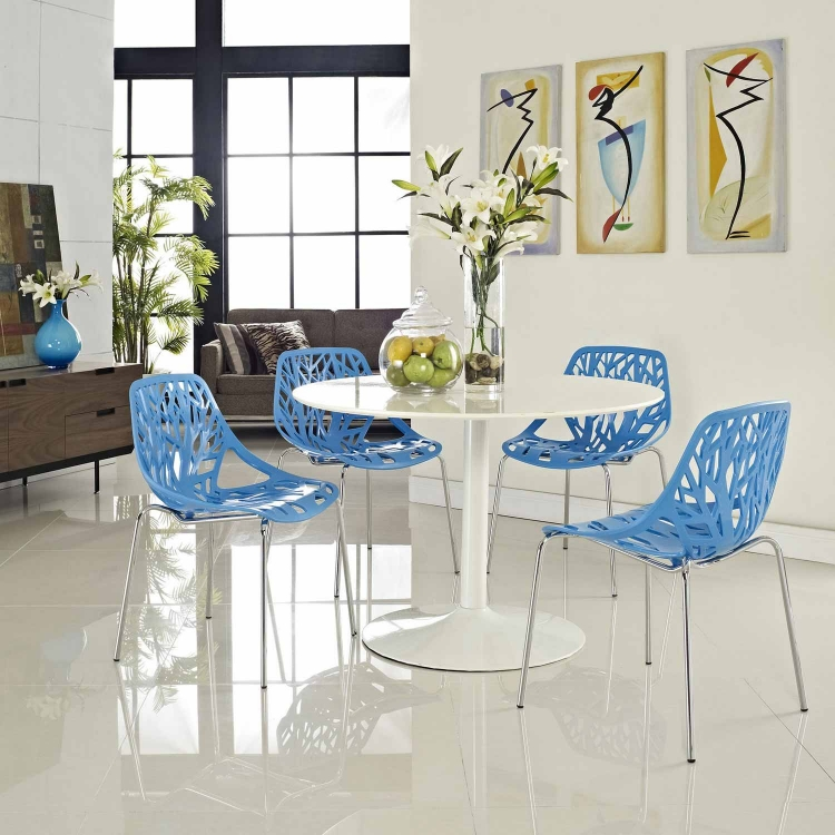 Stencil 4PC Dining Side Chair Set - Blue