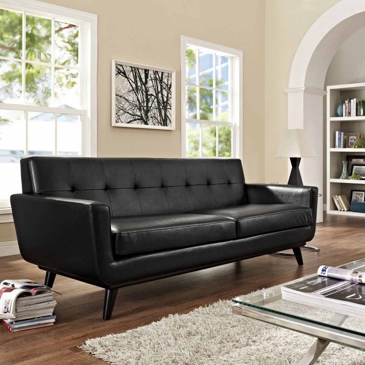 Engage Bonded Leather Sofa - Black