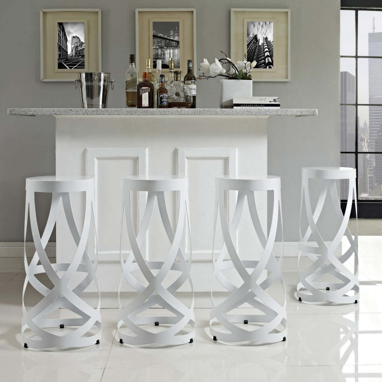Ribbon Bar Stool Set of 4 - White