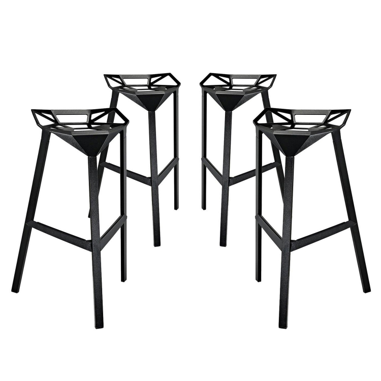 Launch Stacking Bar Stool Set of 4 - Black