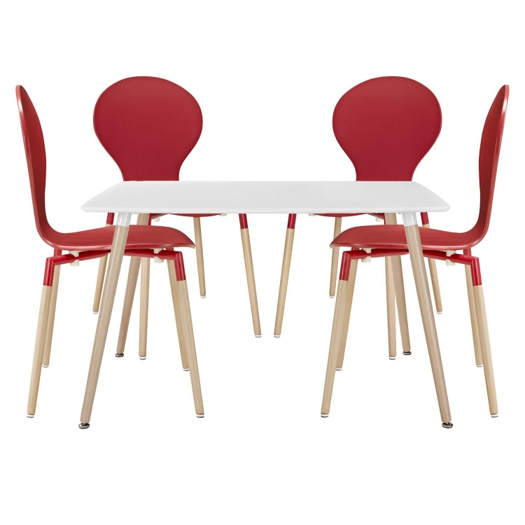 Path 5Pc Dining Chairs and Table Set - Red