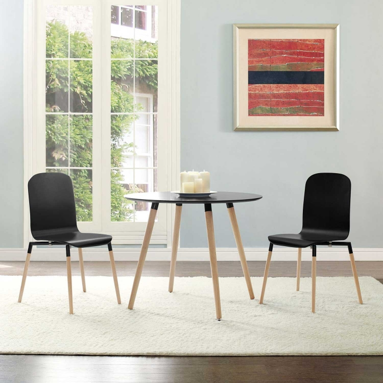 Stack 2PC Dining Chairs Wood Set - Black