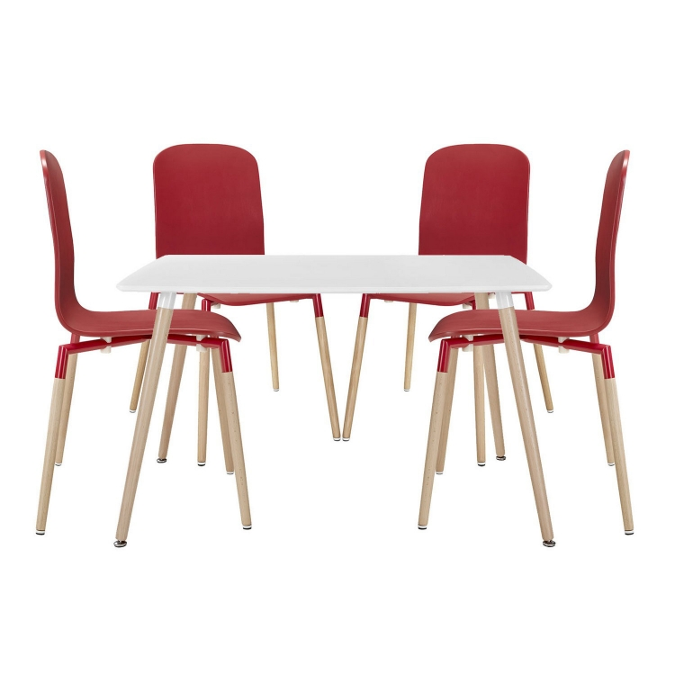 Stack 5PC Dining Chairs and Table Wood Set - Red