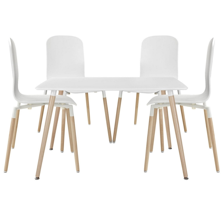 Stack 5PC Dining Chairs and Table Wood Set - White