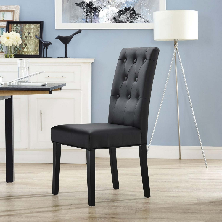Confer Dining Vinyl Side Chair - Black