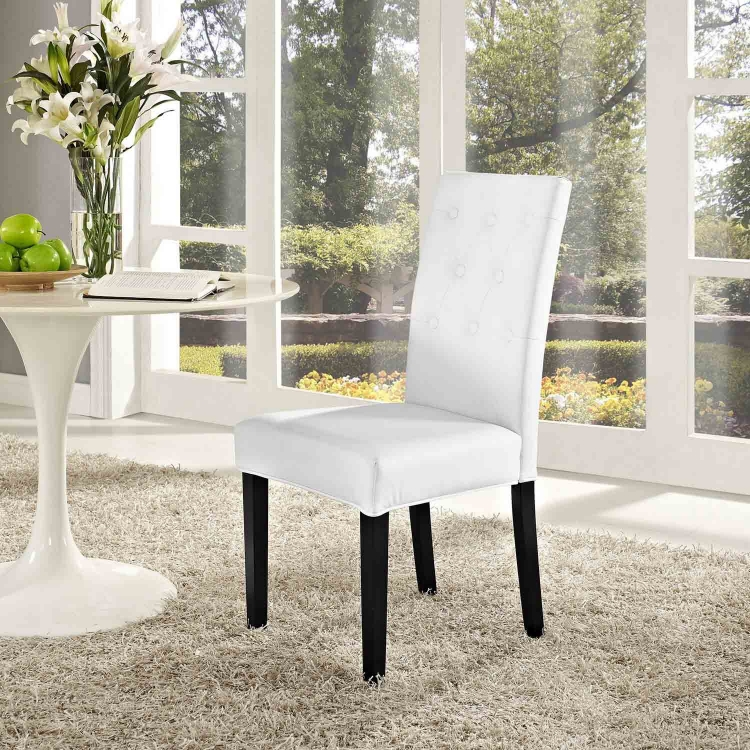 Confer Dining Vinyl Side Chair - White
