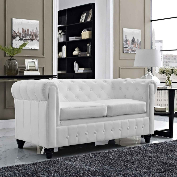 Earl Vinyl Loveseat - White