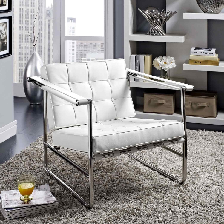Serene Stainless Steel Lounge Chair - White
