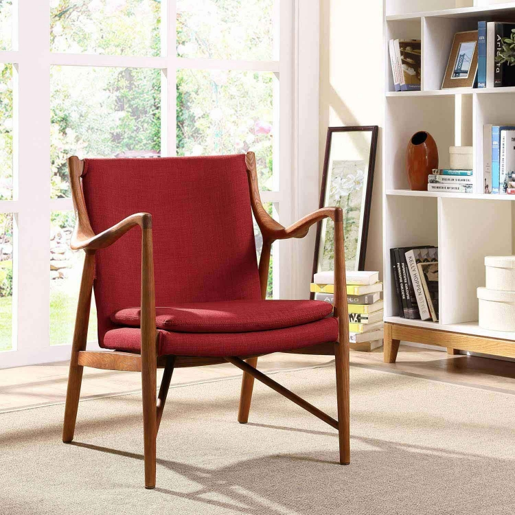 Makeshift Upholstered Lounge Chair - Maple Red