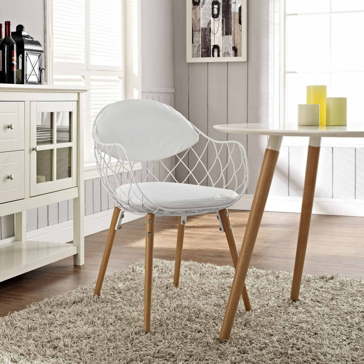 Basket Dining Metal Armchair - White